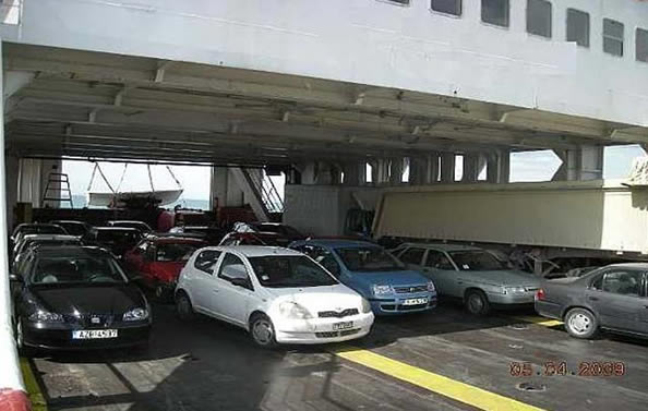 Deck loaded with cars